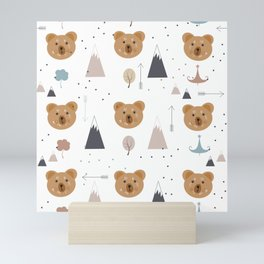Seamless kids pattern with lovely cute bears and forest Mini Art Print