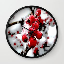 Bright Red Berries Wall Clock