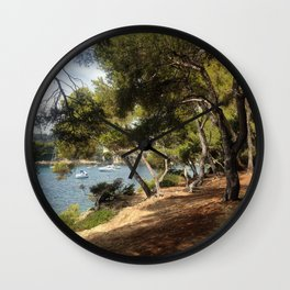Morning Walk at Saint Jean Cap Ferrat Wall Clock