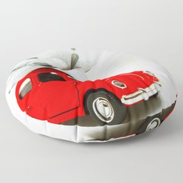 Red Car Christmas Present (Color) Floor Pillow