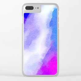 Watercolor-blue,white and pink Clear iPhone Case
