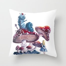 Caterpillar and Alice Throw Pillow