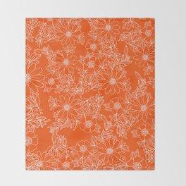 Hand drawn white bright orange modern floral Throw Blanket