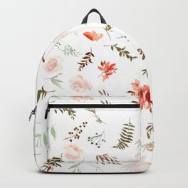 Coral pink green watercolor hand painted floral Backpack