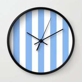 Jordy blue - solid color - white vertical lines pattern Wall Clock
