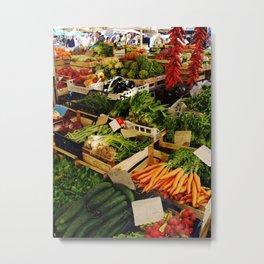 Market - Vegetables - Food - Fresh - Healthy - Fruit - Stand. Vintage illustration. Retro Lovers. Metal Print