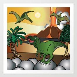 Dinosaur world T-Rex Tyrannosaurus by Beebus Marble Art Print