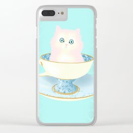 Pink Teacup Kitten Clear iPhone Case
