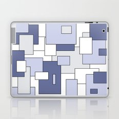 Squares -  gray, blue and white. Laptop & iPad Skin