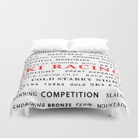 racing Duvet Covers featuring Ski Racing by BACK to THE ROOTS