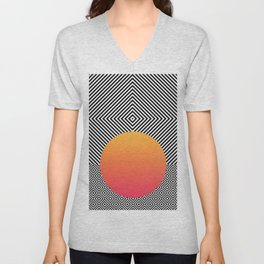 Monochrome Geometric Pattern Clash Abstract Ombre Circle Unisex V-Neck
