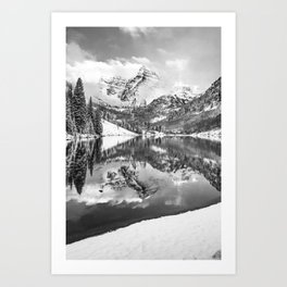 Maroon Bells Morning Landscape - Monochrome Art Print