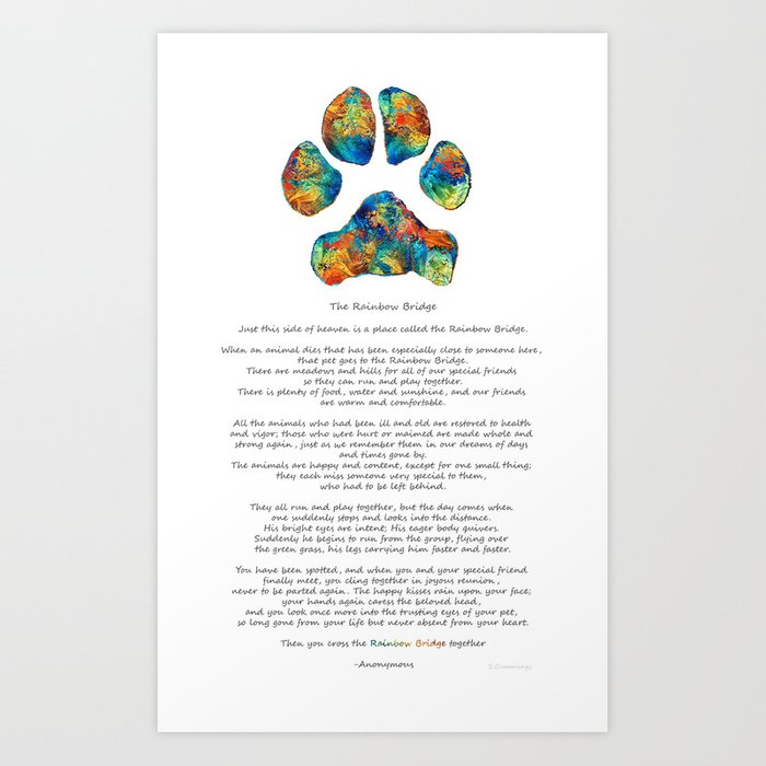 Rainbow Bridge Poem With Colorful Paw Print By Sharon Cummings Art