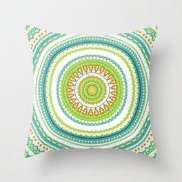 Spring Greens Mandala Throw Pillow