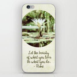 Zen Flower Water Lily With Inspirational Rumi Quote iPhone Skin