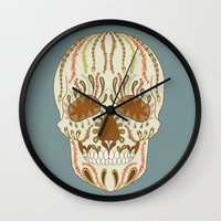 calavera Wall Clocks featuring CALAVERA by Nora