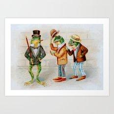 Gentlemen Frogs Art Print
