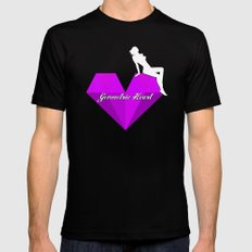 GEOMETRIC HEART® - Purple Special Edition -  MEDIUM Black Mens Fitted Tee