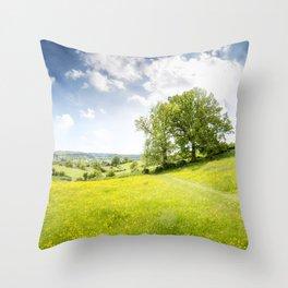 Idyllic Cotswold Summer Landscape Throw Pillow