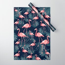 Summer Flamingo Palm Night Vibes #1 #tropical #decor #art #society6 Wrapping Paper