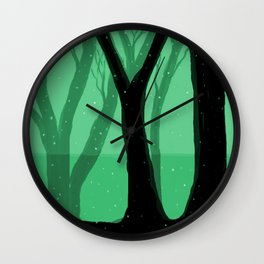 Magical Forest in Green Wall Clock