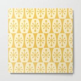 Mid Century Modern Atomic Fusion Pattern 335 Yellow on Yellow Metal Print