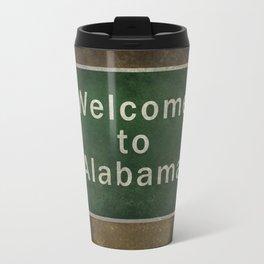 Alabama roadside sign illustration, with distressed ominous background Travel Mug