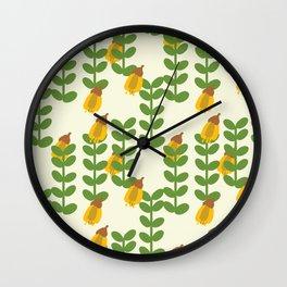 Retro Kowhai Pattern Wall Clock