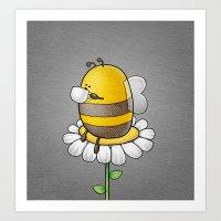 Bee Drinking Tea Art Print