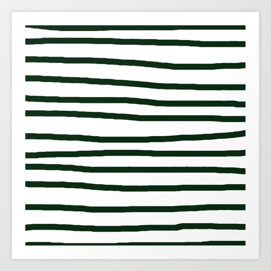 Simply Drawn Stripes in Pine Green Art Print