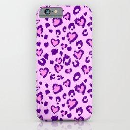 Lilac & Purple Leopard Print Hearts iPhone Case