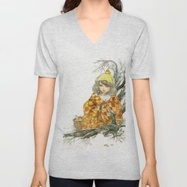 Winter Story Time in the Forest Unisex V-Neck