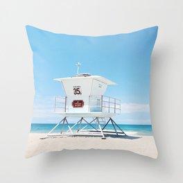 Lifeguard tower Carlsbad 35 Throw Pillow