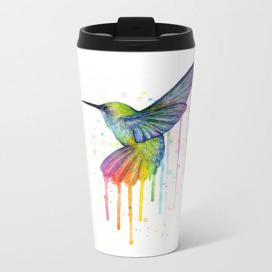 Hummingbird Rainbow Watercolor Metal Travel Mug