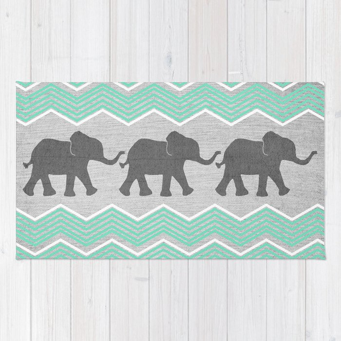 Three Elephants   Teal And White Chevron On Grey Rug