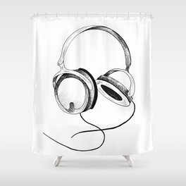 Headphones. Sketch style, black and white print. Shower Curtain