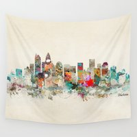 north carolina Wall Tapestries featuring charlotte city north carolina by bri.buckley