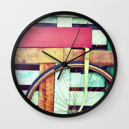 Decorative retro wooden cart with wheel Wall Clock