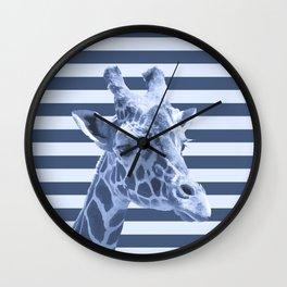 [Animals & Stripes] Blue giraffe Wall Clock