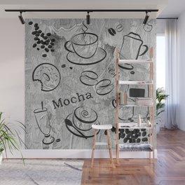 Grunge Coffee Background - Black & White 04 Wall Mural