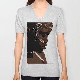 Mursi girl Unisex V-Neck