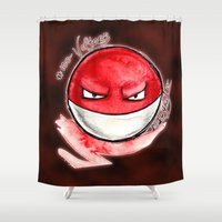 the 100 Shower Curtains featuring 100 - Voltorb by Lyxy