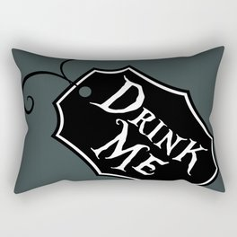 """DrinkMe"" Alice in Wonderland styled Bottle Tag Design in 'Bandersnatch Grey' Rectangular Pillow"