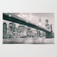 brooklyn bridge Area & Throw Rugs featuring Brooklyn Bridge  by Vivienne Gucwa