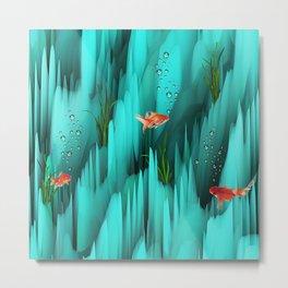 Golden Fishes Metal Print