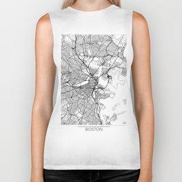 Boston Map White Biker Tank