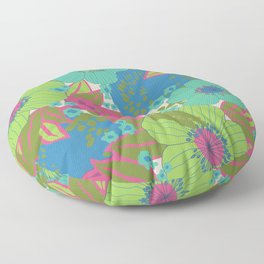 Green, Turquoise, Blue and Magenta Retro Floral Pattern Floor Pillow