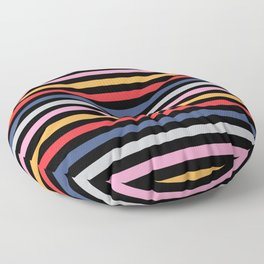 Colorful Stripes Pattern 2 with Black Background Floor Pillow