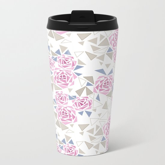 Modern . Geometric pattern . Roses . 1 Metal Travel Mug
