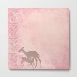 Woodland Fairytale:  Fawn and Doe in pink with roses - sweet deer mother and baby Metal Print
